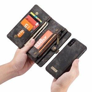 Image 3 - CaseMe lüks deri manyetik 2in1 deri kılıf iPhone12 Pro Max X 8 8 artı 7 7 artı 6 6s artı fermuar çevirme çanta cüzdan kılıf