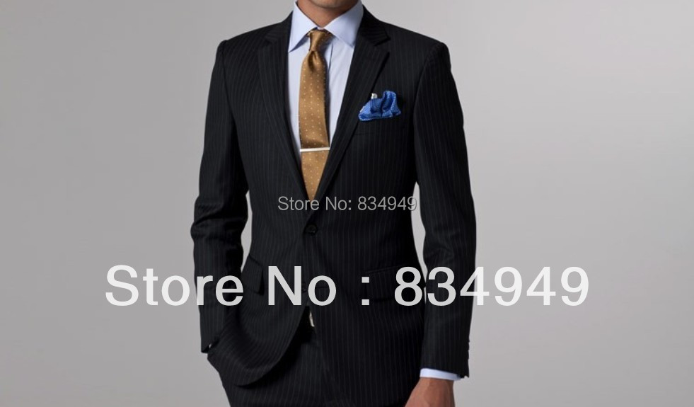 Black White Pinstripe Suit Custom Made Wedding Suits For Men ...