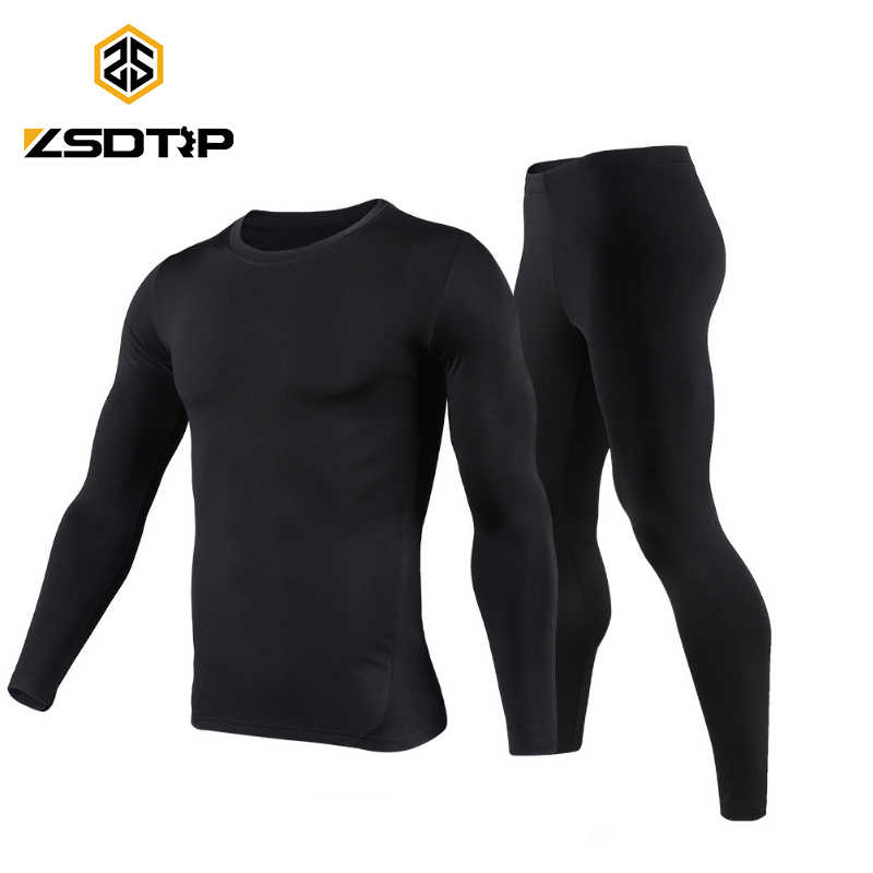 ZSDTRP moto hommes sous-vêtements thermiques ensemble ski moteur hiver chaud Base couches serré longs hauts et pantalons Motocross