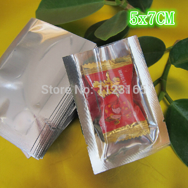 5x7cm, 200pieces x Open top Translucent Plating Aluminium Bags Front clear Mylar Foil Pouches Food Storage Package Heat sealable