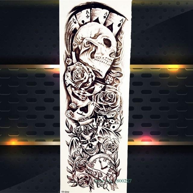 Cráneo Poker Diseño Tatuaje Temporal Cuerpo Brazo Chica Manga