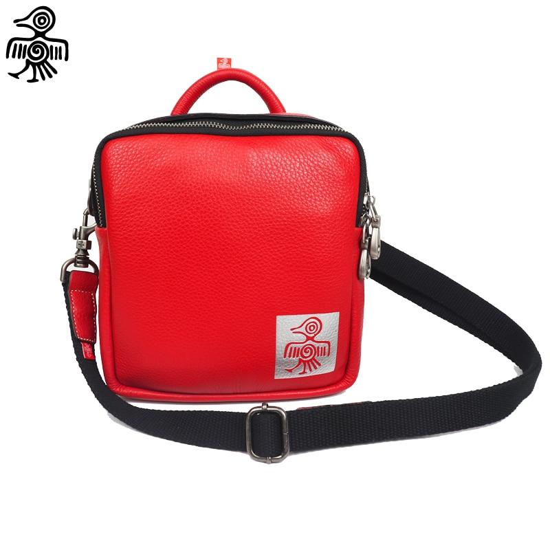 Women Crossbody Handbag Genuine Leather Sunbird Tattoo Pattern Original design Red Bag цена