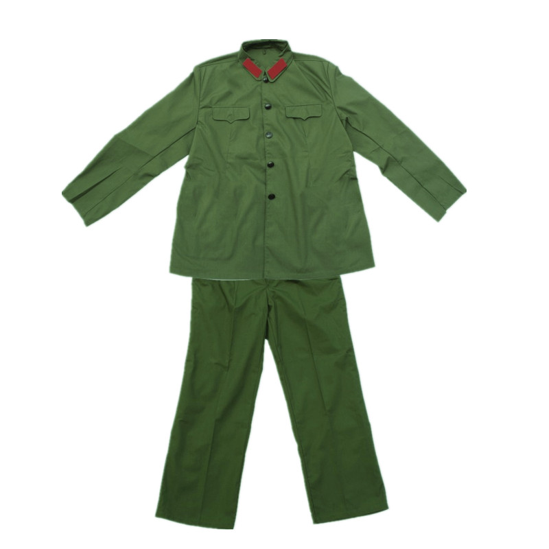 WWII Army Nniform Full Set Chinese Soldier 65 Uniform Jacket and Pants Green Color 1965 DILIANG Material