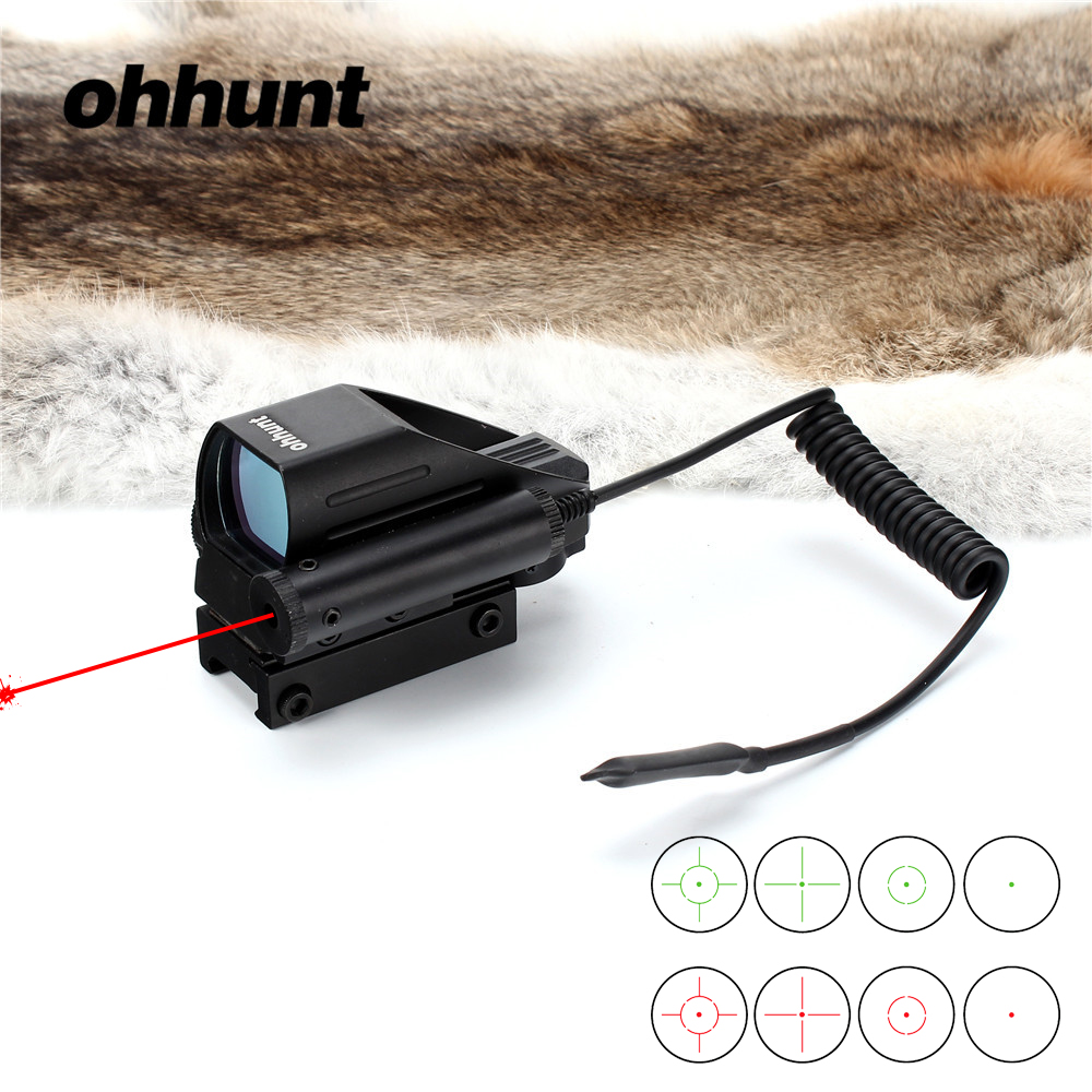 ohhunt Tactical Holographic Reflex Red Green Dot Sight Scope 4 Reticle & Red Laser Hunting Sight new 4 reticle tactical reflex red green laser holographic projected dot sight scope airgun rifle sight hunting rail mount 20mm