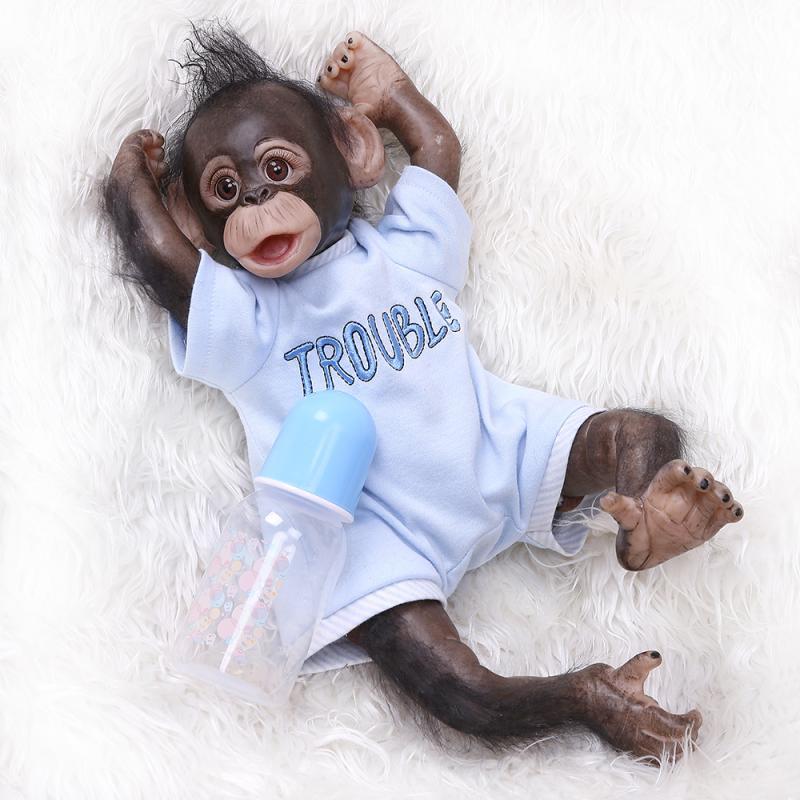 Nouveau Style 40 cm Silicone souple garçon singe bébé poupée jouet réaliste nouveau-né singe poupées enfant nouveauté Cosplay singes mignon enfants cadeau