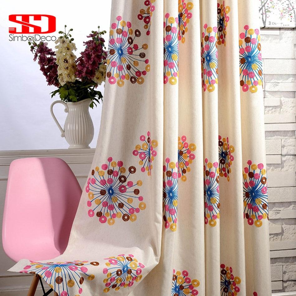 Vysoce kvalitní tkanina Luxusní záclony Zatemnění pro ložnice Blinds Závěsy Pastorální Barevné květinové okno Cortinas pro obývací pokoj