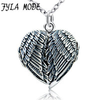 100% Real Pure 925 Sterling Silver Heart Locket Photo Frame Pendant Necklace Antique Silver Angel Wing Necklace For Women