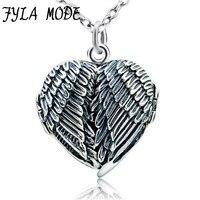 100% Real Pure 925 Sterling Silver Coração Foto Medalhão Quadro Pingente Antigo Colar De Prata da Asa do Anjo Colar Para As Mulheres