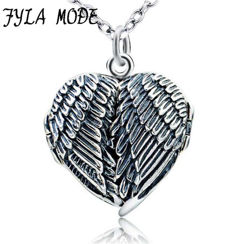 100% Real Pure 925 Sterling Silver Heart Locket Photo Frame Pendant Necklace Antique Silver Angel Wing Necklace For Women vintage heart shape locket necklace for women