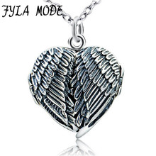 100% Real Pure 925 Sterling Silver Heart Locket Photo Frame Pendant Necklace Antique Silver Angel Wing Necklace For Women цена в Москве и Питере