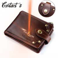 Contact's Genuine Leather Wallet Men Coin Purse Small Clutch Walet for Male Vintage Hasp Design Money Bag Card Holder PORTFOLIO|Wallets|   -