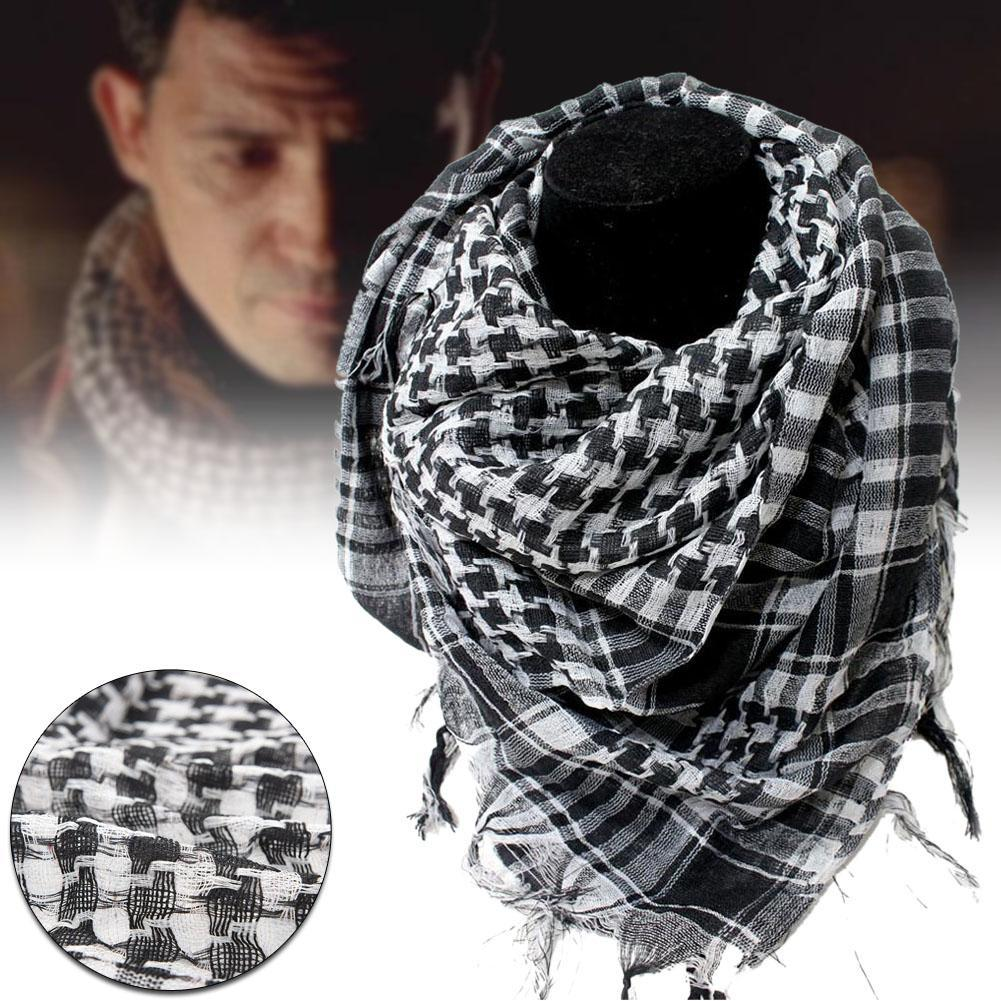 Military Windproof Winter Scarf Men Muslim Hijab Thin Shemagh Tactical Shawl Arabic Keffiyeh Scarves Cotton Fashion Black