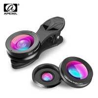 APEXEL 3 en 1 Clip-on lente de la cámara del teléfono lentes Kit para Android tabletas ios y otros Smartphones lente ojo de pez + 2 en 1 lente APL-SJ3