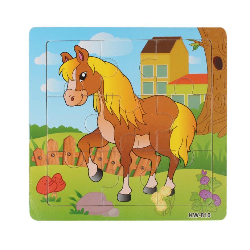 Деревянная игрушка-головоломка Обучающие Развивающие Baby Дети Обучение игрушки для детей Животное Лошадь пазлы головоломки Жуэ Enfant