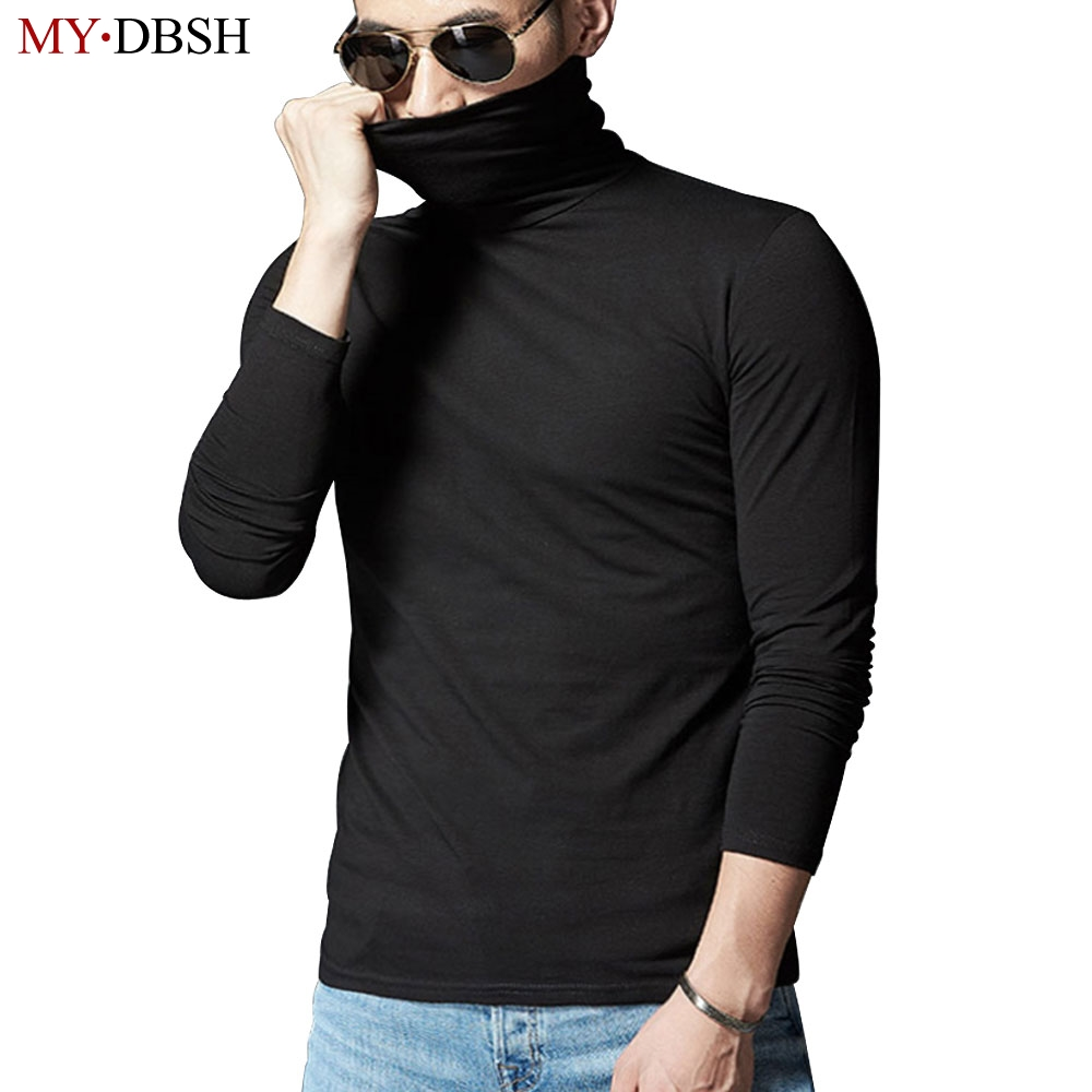 MYDBSH Brand New Design Men Slim Fit Elastic Cotton Undershirt Male Long Sleeve Turtleneck Thermal Shirt Mens Thermal Underwear ...