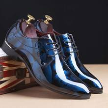 Fashion Patent Leather Dress Shoes Men Flats Pointed Toe Formal Wedding Bright Oxford For Footwear