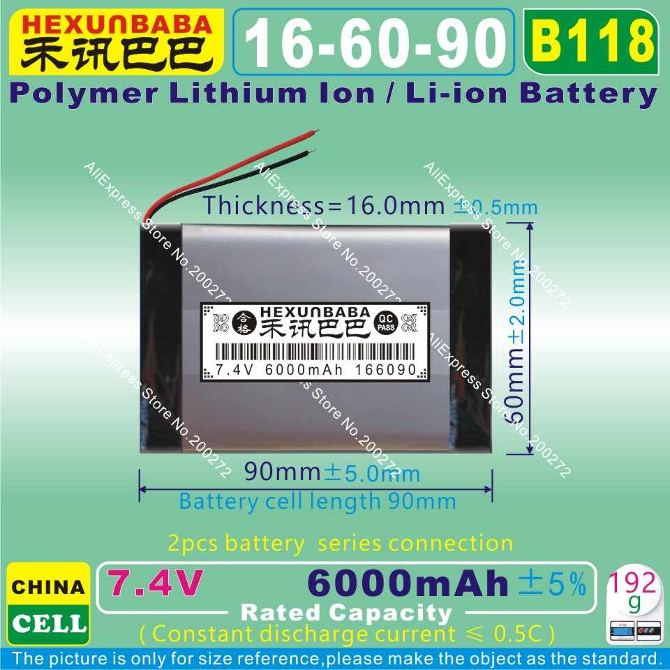 [B118] 7.4 V 6000 mAh [166090] de iões de lítio Polímero bateria/Li-ion bateria para banco de potência, tablet pc, e-book, palestrante; dispositivo monitor