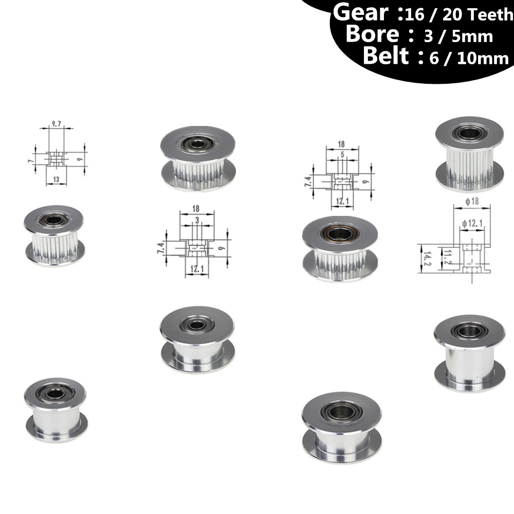 GT2 Pulley 16/20 Without Teeth Pulley 16/20Teeth OR Without Teeth Timing Gear Bore 3/5mm for 2GT Belt Width 6/10mm