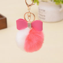 Artificial Rabbit Fur Keychain Double Color Women Car Handbag Key Ring 7cm Lovely Fluffy Fur Ball Key Chain Bow-knot Pompom(China)