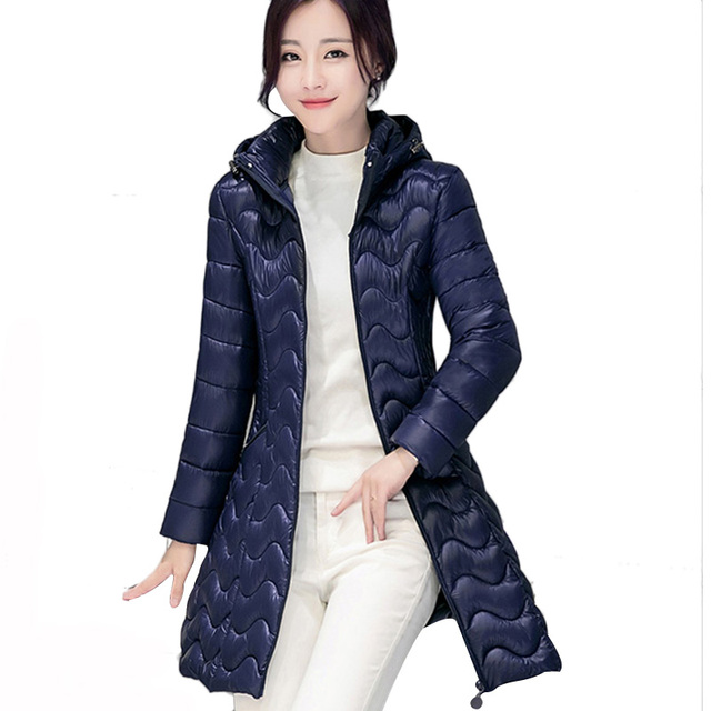 2016 winter new Korean fashion style slim thin cotton padded coat women ladies long down jacket tide elegant solid JT462