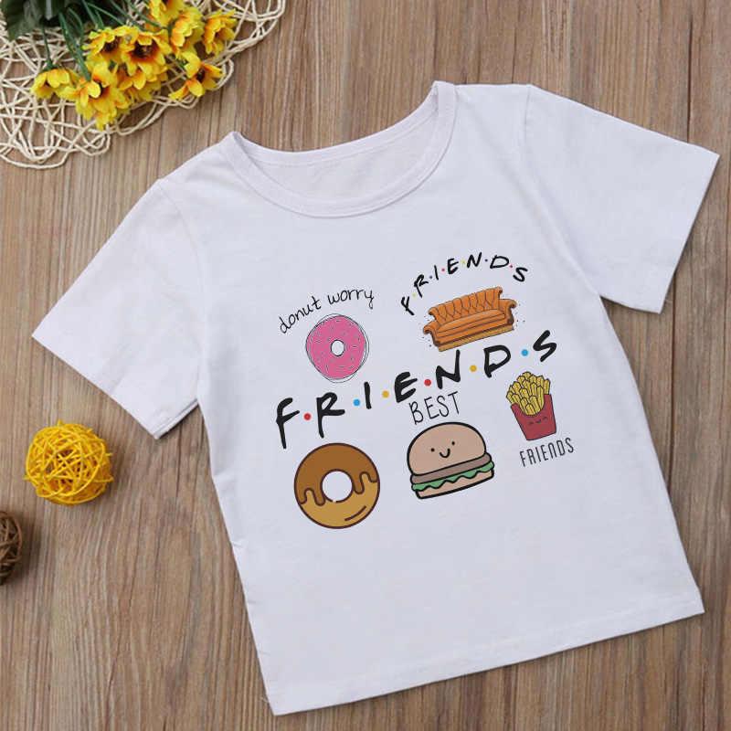 Летняя модная футболка с изображением гамбургеров и картошки фри для девочек милые забавные футболки для мальчиков и подростков повседневная детская футболка для мальчиков и девочек