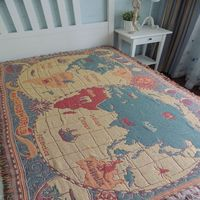 American map of the world blanket cotton thread blanket living room carpet mats