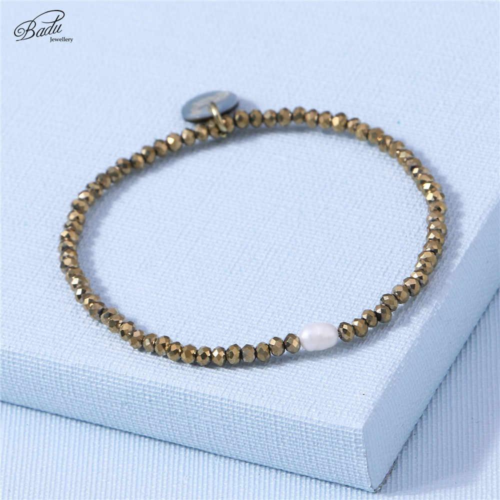Badu Gold Perlen Armband Frauen Elastische Armbänder Süßwasser Perle Mädchen Schmuck Tägliche Tragen Femme Charme Armband