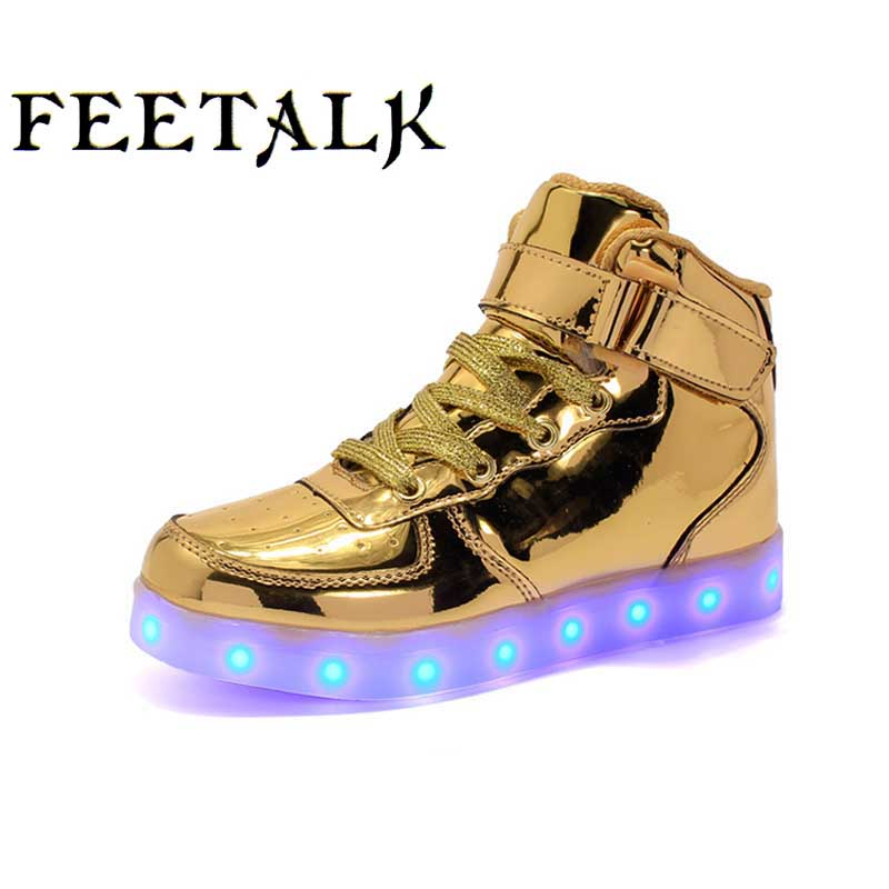 2017 New Kids Glowing Shoes USB Charger LED Light Boys Girls Neon Glow running Luminous Sneakers Lace Up Sports Shoes Eur 25-37 ...
