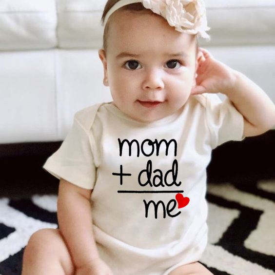 Mom Plus Dad Equals Me Summer Newborn Baby Clothes Boy Girl Kids Cotton Bodysuit Infant Funny Cute Jumpsuit Onesie Outfits
