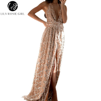 Lily Rosie Girl Sexy Deep V Neck Sequined Maxi Long Women Dress Sleeveless Party Backless Strap