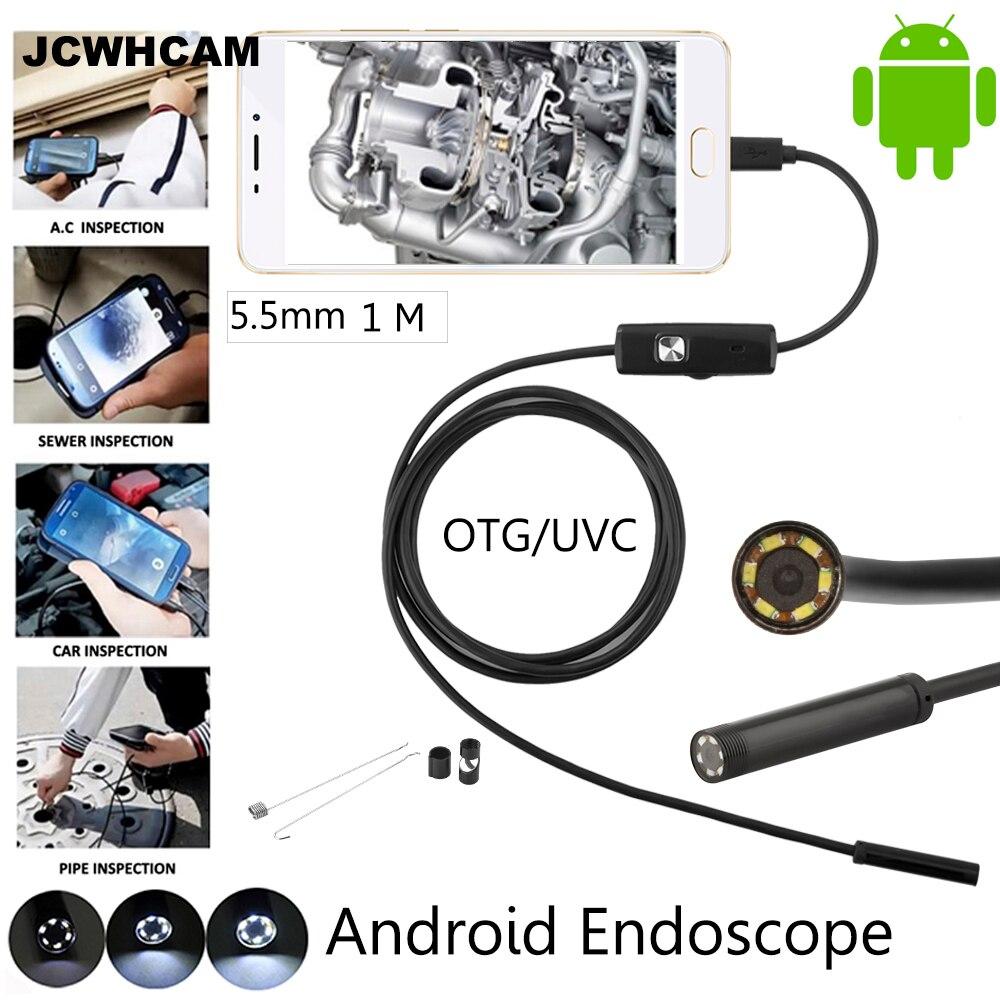 JCWHCAM Android telefon Micro USB endoskop kamera 5,5 mm objektiv 6LED přenosný OTG USB endoskop 1M USB Android telefon Borescope