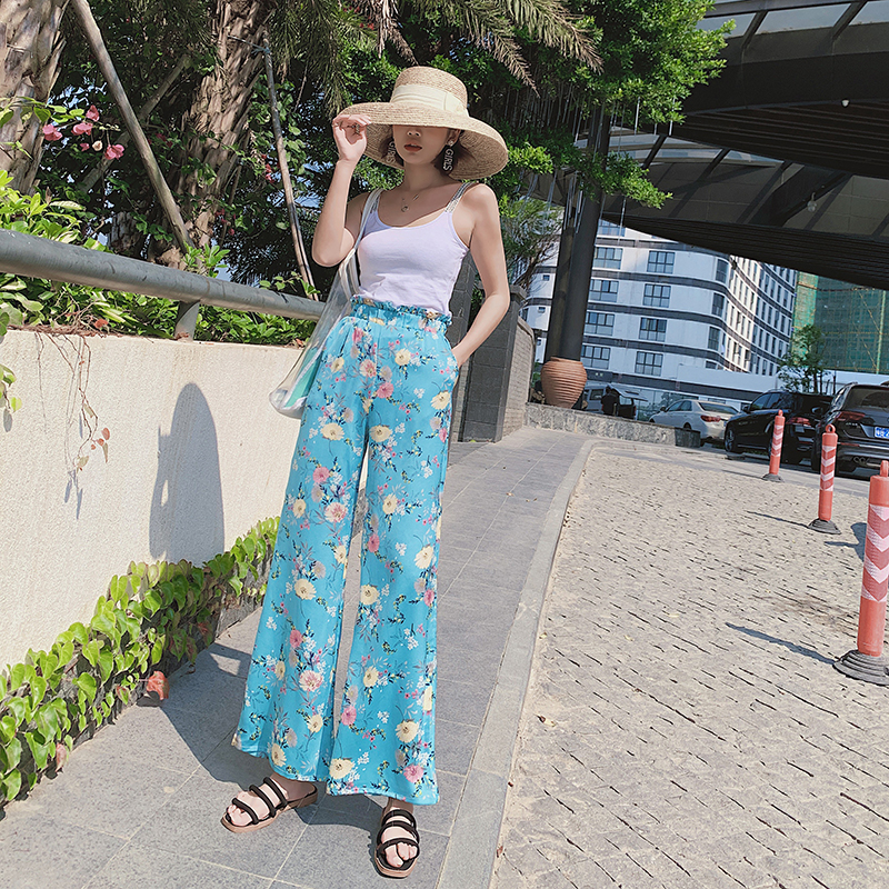 Real shot 2019 new style holiday Thailand flower bud waist trousers Bohemian   wide     leg     pants   beach beach travel   pants