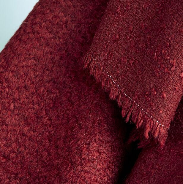 Red yarn-dyed Wool cotton circle wool coat fabric/ woolen tweed tecido telas christmas tulle dress african patchwork fabric A174