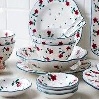 KINGLANG японский Керамика бытовой Набор посуды набор керамических столовых приборов тарелка чаша чашка для еды набор чаши