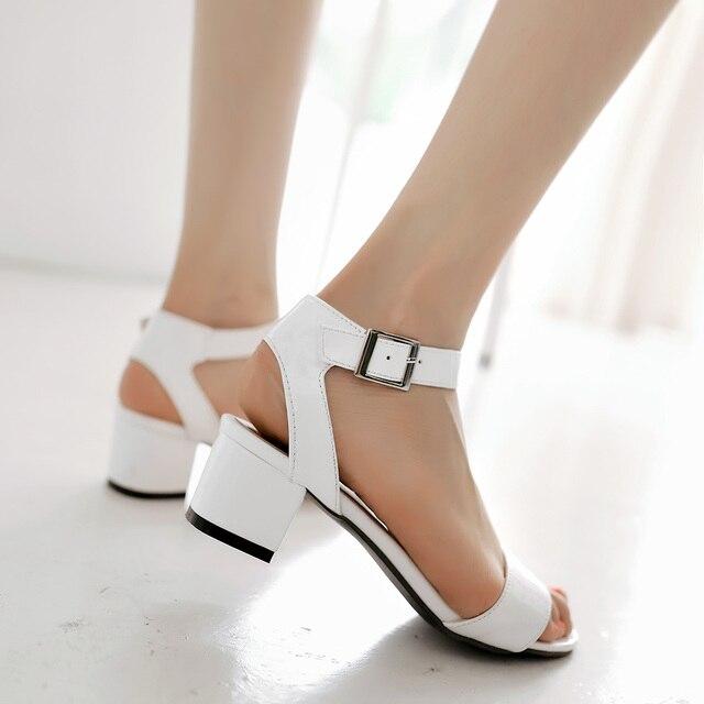 Большой размер 32 - 43 высокое качество 2016 лето мода женщины площадь med-каблуки передние и задние ремень сандалии 3 цветов