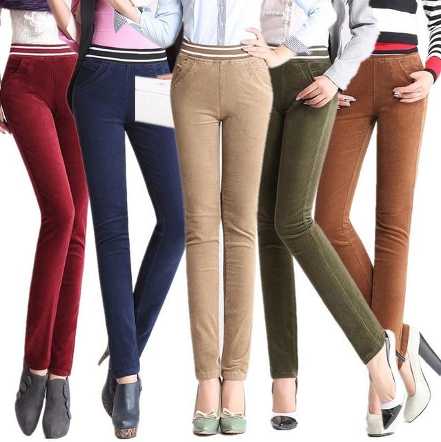 El otoño y el invierno de alta cintura elástico de la cintura elástico pana pantalones casuales mujeres más tamaño XXXXL