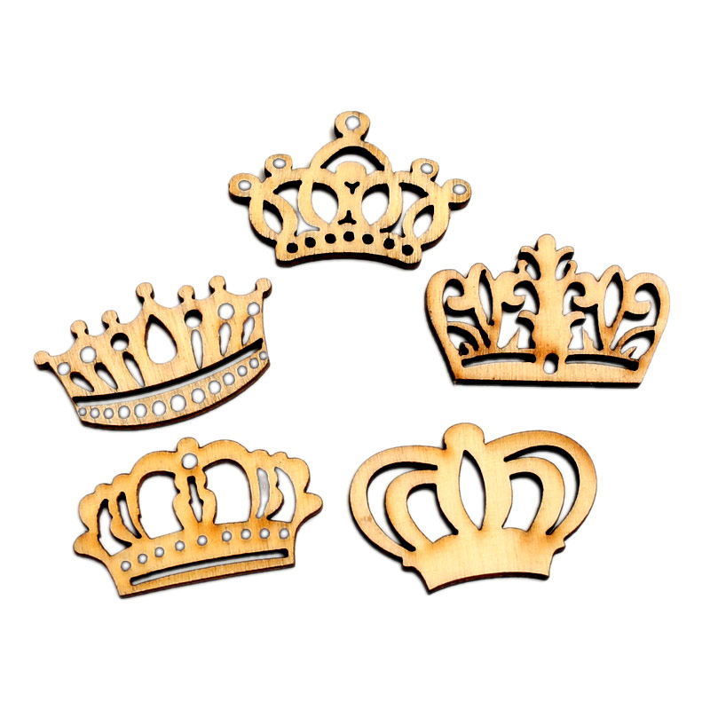 LF 50Pcs Crown Wood Mixed Wood Crown Handicraf 32mm  Embellishments MDF Unfinished Wood Scrapbooking For Craft Decoration Diy