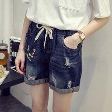 Mujeres xl-5xl verano nuevo casual shorts denim Mickey mouse bordado  apenado detalles cintura elástica casual shorts K213 9676752f234