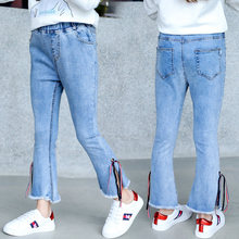4-13 Years Teenage Jeans Girls Tape Side Slit Denim Pants Kids Girls Jeans Pants With Open Sides Children Pencil Denim Trousers недорого