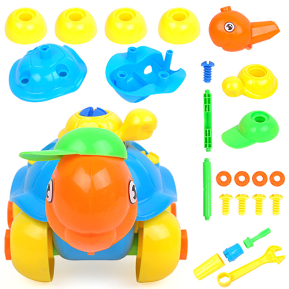 Kids Brain Hand-Eye Coordination Training Toy DIY Handmade Turtle Car Design Assembled Models Building Block Educational Toys