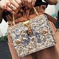 Luxury fashion design charm diamond sequined acrylic coin box handbag women's party totes messenger bag crossbody shoulder bag