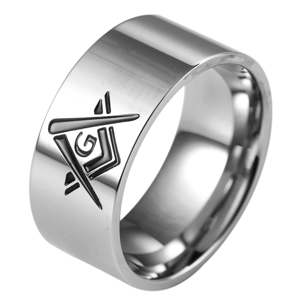 10MM Storlek 7-15 Rostfritt Stål Punk Biker Freemason Knight Master Masonic Ring Band Klassisk Skola Freemason Cocktail Biker