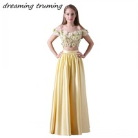 Vestido De Festa 2018 Prom Dresses With Floral Flowers Two Pieces Yellow Long Women Girl Formal
