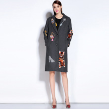 2016 Autumn winter Outerwear Women wool coat fashion high quality vintage women s embroidery woolen outerwear