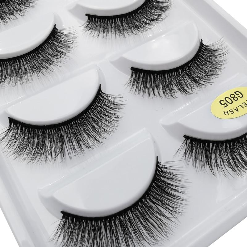 5 Pairs Mink Eyelashes Natural Long Mink Lashes Hand Made False Lashes Plastic Cotton Stalk Makeup False Eyelash For Make Up