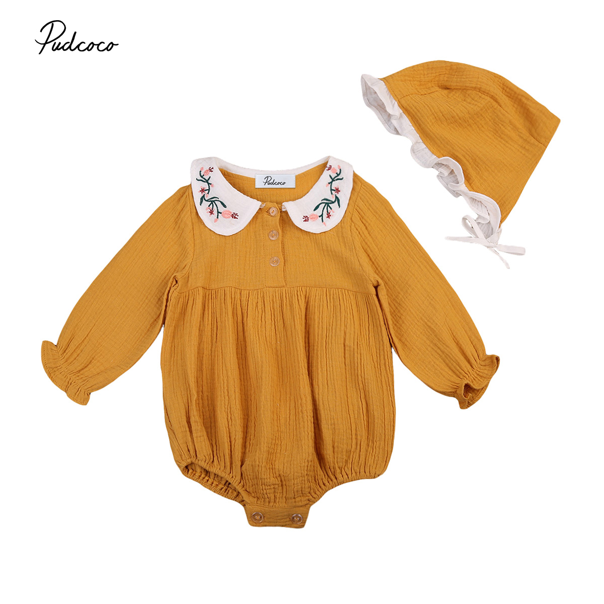 2017 Hot Cute baby girl romper Newborn Baby Girl Floral Peter pan Collar Romper+lovely Sun Hat Clothes Outfits 0-3Y baby clothes make my day нагрудник baby bib peter pan collar