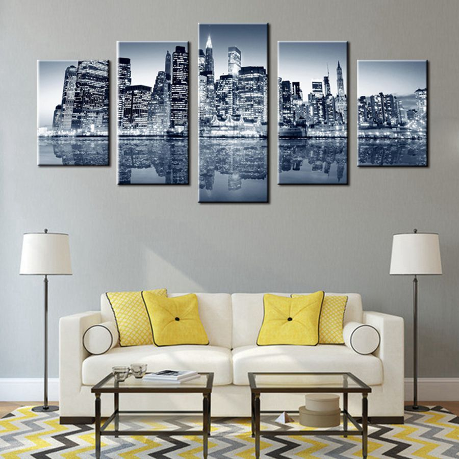 UnFramed New York City Landscape Dark Night Wall Art Picture Decoration Canvas Paintings For Living Room Home Decor (gray Blue)