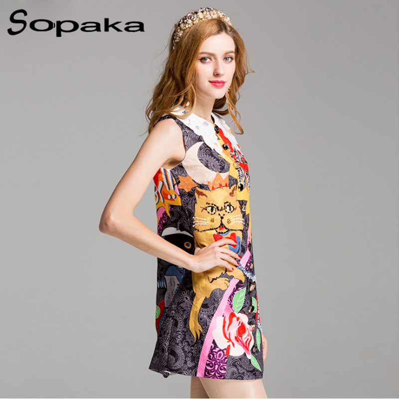 Buy Cheap SOPAKA 2017 Summer Women Sundress . Doraemon Character and Flower Printed . Button Sequins Ornaments Short Dress for Women