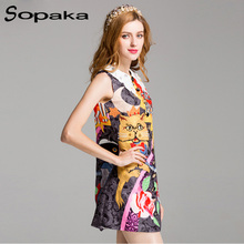 SOPAKA 2017 Summer Women Sundress . Doraemon Character and Flower Printed . Button Sequins Ornaments Short Dress for Women