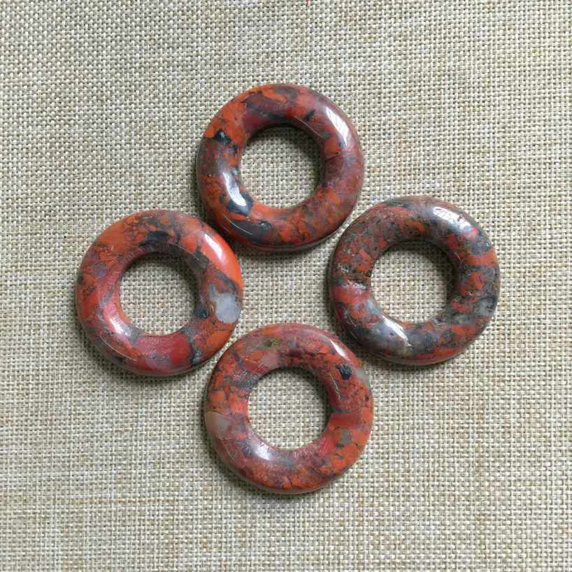 Natural Stone Bead Donut Pendant Round Circle 50 mm Red Jaspers  DIY Earrings Necklace Jewelry